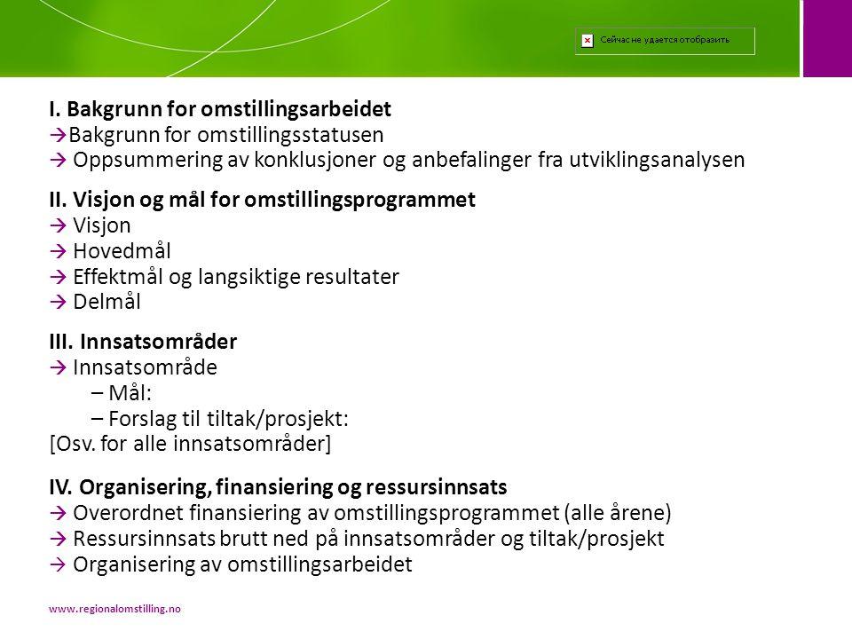 I. Bakgrunn for omstillingsarbeidet Bakgrunn for omstillingsstatusen  Oppsummering av konklusjoner og anbefalinger fra utviklingsanalysen II. Visjon og mål for omstillingsprogrammet  Visjon  Hovedmål  Effektmål og langsiktige resultater  Delmål III. Innsatsområder  Innsatsområde – Mål: – Forslag til tiltak/prosjekt: [Osv. for alle innsatsområder] IV. Organisering, finansiering og ressursinnsats  Overordnet finansiering av omstillingsprogrammet (alle årene)  Ressursinnsats brutt ned på innsatsområder og tiltak/prosjekt  Organisering av omstillingsarbeidet